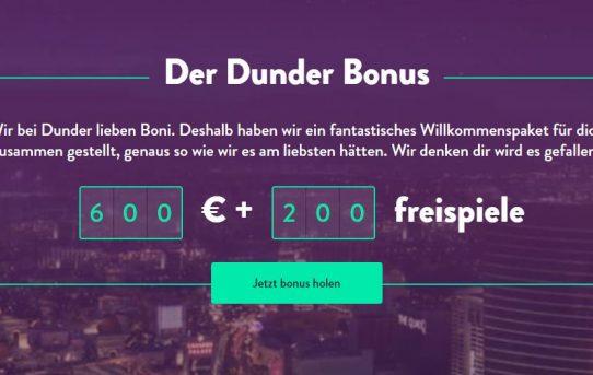 welcome bonus dunder