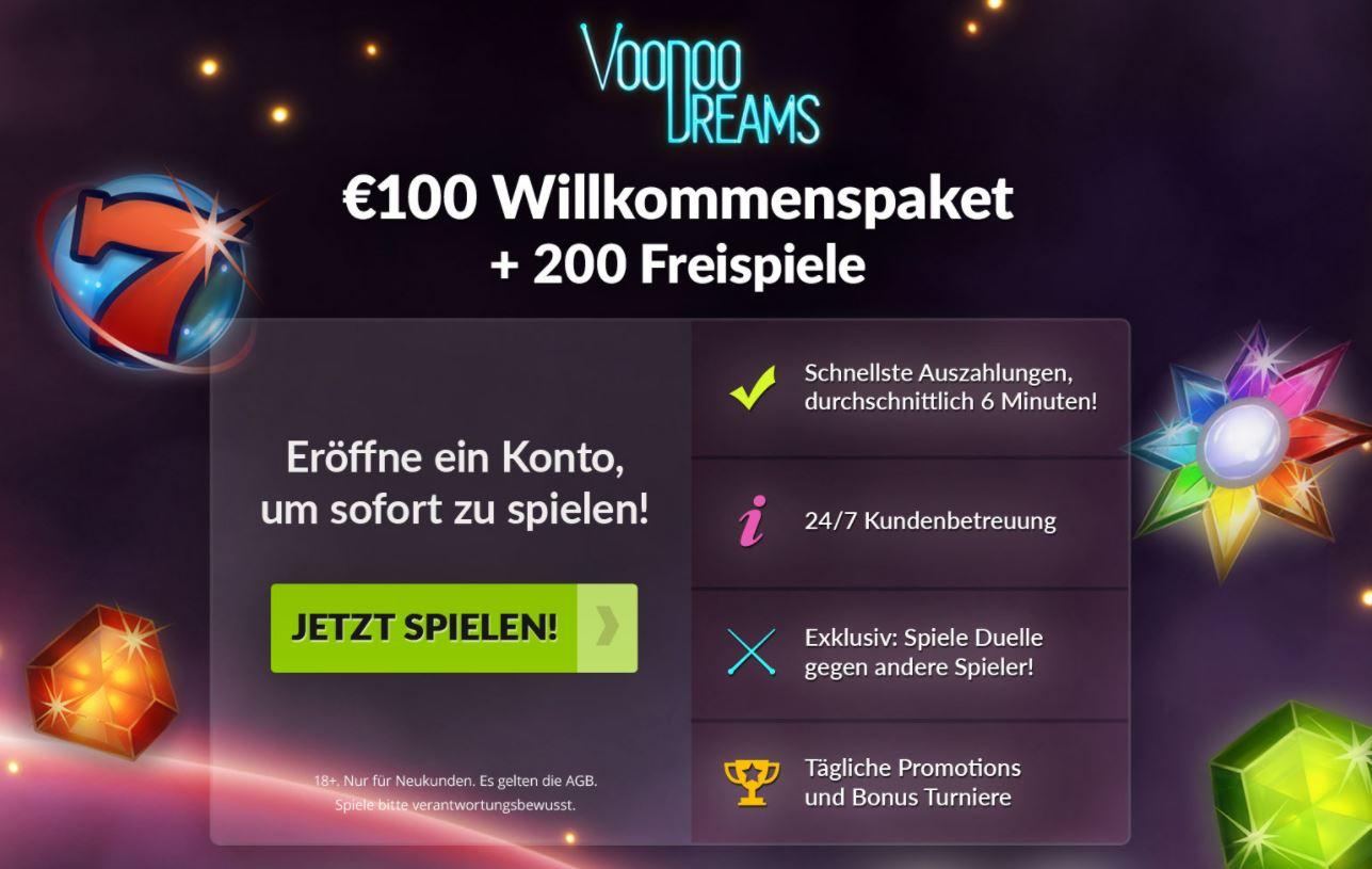 voodoo dreams 100 euro bonus und 200 fs