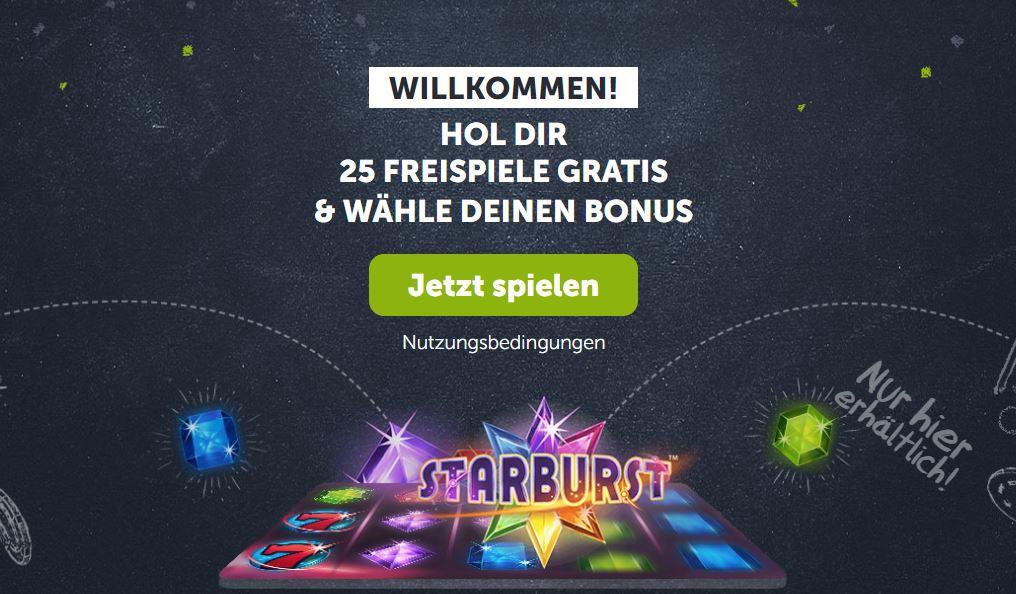 comeon 25 free spins starburst